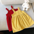 Dress Red yellow female 90cm 100cm 110cm 120cm 130cm 140cm Cotton 90% other 10% Korean version Skirt / vest Solid color cotton A-line skirt Class A Spring 2021 They were 2 years old, 3 years old, 4 years old, 5 years old, 6 years old, 7 years old, 8 years old and 9 years old Chinese Mainland