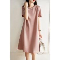 Dress Summer 2021 Pink, black M,L,XL,2XL Mid length dress Short sleeve commute Crew neck Loose waist Solid color zipper other Type H Ol style Panel, zipper
