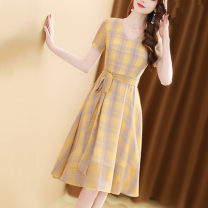 Dress Summer of 2019 yellow S,M,L,XL,2XL Mid length dress singleton  Short sleeve commute V-neck middle-waisted lattice zipper A-line skirt routine Others Type A Ol style