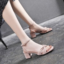 Sandals 33,34,35,36,37,38,39,40 Black, light pink Suede Other / other Barefoot Thick heel High heel (5-8cm) Summer 2020 T-shaped buckle princess Solid color Adhesive shoes Youth (18-40 years old) rubber daily Front and rear trip strap Low Gang Microfiber skin PU Roman shoes