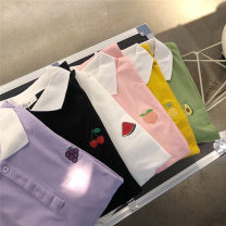 T-shirt Black, green, purple, yellow, white, pink Average size Summer 2021 Short sleeve Polo collar easy Medium length routine commute cotton 96% and above Korean version ALEVEL