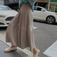 skirt Winter 2020 S,M,L Apricot, black, dark grey, army green, khaki Mid length dress commute High waist A-line skirt Solid color Type A 18-24 years old LLY gDkx0666 More than 95% Other / other other Pleating, pleating, three-dimensional decoration, stitching, 3D Korean version