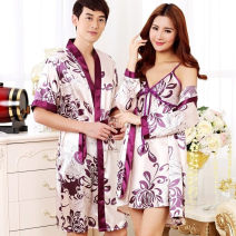 Pajamas / housewear set lovers You yuan Please refer to the size recommendation table of detail page to purchase ml XL XXL other sexy pajamas autumn Thin money Plants and flowers silk printing 4B8236837 Above 400g Other 100% Before 2010 Short skirt