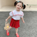 suit yojia Black red 80cm 90cm 100cm 110cm 120cm 130cm 140cm female summer Korean version Short sleeve + skirt 2 pieces Thin money There are models in the real shooting Socket nothing Solid color other children Giving presents at school 21XT037 Other 100% Summer 2021