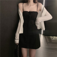 Dress Summer 2020 Black sling + white coat S M L XL Short skirt Two piece set Long sleeves commute One word collar middle-waisted Solid color Socket Pencil skirt routine camisole 25-29 years old Einaudi  Korean version Open back stitching AND1929 More than 95% brocade polyester fiber