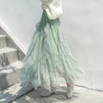 skirt Winter 2020 Average size Apricot, green, blue, black longuette Versatile High waist Cake skirt Solid color Type A 18-24 years old RKFU86329 More than 95% other Other / other other Ruffle, asymmetric, mesh, stitching