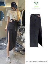 skirt Summer 2021 S,M,L,XL Slit skirt, slit skirt (blue), short sleeve T-shirt, slit skirt (black), a large number of spot manufacturers direct sales Mid length dress Sweet High waist Denim skirt Solid color Type H 18-24 years old 31% (inclusive) - 50% (inclusive) other other make a slit or vent