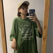 Women's large Summer 2021 Black yellow green M [recommended 80-110 Jin] l [recommended 110-140 Jin] XL [recommended 140-170 Jin] XXL [recommended 170-200 Jin] T-shirt singleton  commute easy thin Socket elbow sleeve Cartoon letters Korean version Crew neck Medium length Polyester cotton routine