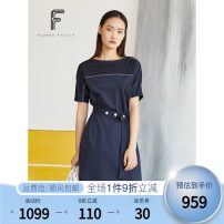 Dress Spring 2020 Dark ultramarine blue S M L XL Mid length dress singleton  Short sleeve commute One word collar High waist Solid color Socket Irregular skirt routine Others 30-34 years old Type H FUUNNY FEELLN Simplicity One word collar FF00167 51% (inclusive) - 70% (inclusive) other cotton