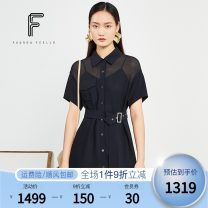 Dress Summer 2020 Dark ultramarine blue S M L XL Mid length dress Two piece set Short sleeve commute square neck High waist Solid color Single breasted A-line skirt routine Others 30-34 years old Type A FUUNNY FEELLN Ol style Binding button gauze FF00211 31% (inclusive) - 50% (inclusive) Chiffon