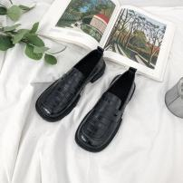 Low top shoes 35 36 37 38 39 40 Pamani Black Beige Square head Superfine fiber Square heel Low heel (1-3cm) Deep mouth cloth Spring 2021 Trochanter Sweet Adhesive shoes Youth (18-40 years old) Solid color rubber Single shoes Muffin with PU leisure time 2021-3-11-6 Face dressing