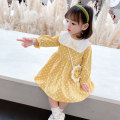 Dress Yellow, green, white, black, orange female Other / other 80cm,90cm,100cm,110cm,120cm,130cm Other 100% spring and autumn Korean version Long sleeves Dot cotton Lotus leaf edge Class B 12 months, 9 months, 18 months, 2 years old, 3 years old, 4 years old, 5 years old, 6 years old, 7 years old