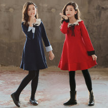Dress Navy red red winter Plush Navy winter Plush female Noble star 110cm 120cm 130cm 140cm 150cm 160cm 165cm Cotton 95% polyester 5% spring and autumn Korean version Long sleeves Solid color cotton A-line skirt TNNK8503 Class A Winter 2020 Chinese Mainland Guangdong Province Guangzhou City