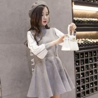Dress Winter 2020 Tagetdhltb, picture color S,M,L,XL Short skirt singleton  Long sleeves commute Half high collar middle-waisted character zipper Pleated skirt bishop sleeve Others 18-24 years old Type H Korean version Panel, zipper 31% (inclusive) - 50% (inclusive) Wool polyester fiber