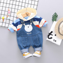 suit Zhiqinnuo Blue green - colorful Strap Cover Blue Orange - colorful strap cover 80cm 90cm 100cm 110cm male spring and autumn leisure time Long sleeve + pants 2 pieces No model Socket No detachable cap stripe cotton children Expression of love xet-qz-08 Class A Autumn of 2019