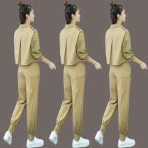 Women's large Winter of 2018 Grey, black, khaki trousers Two piece set commute easy moderate Cardigan Long sleeves Solid color Korean version Polo collar have cash less than that is registered in the accounts Three dimensional cutting routine Other / other 25-29 years old trousers