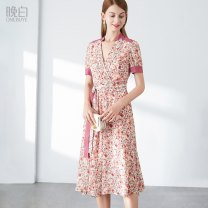 Dress Summer 2021 Decor S,M,L,XL Mid length dress singleton  Short sleeve commute V-neck High waist Broken flowers Socket A-line skirt routine Others 30-34 years old Type A ONEBUYE lady Printed lace up More than 95% Chiffon polyester fiber