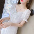 Dress Summer 2021 white S M L XL Mid length dress singleton  Short sleeve commute V-neck High waist Solid color Socket A-line skirt puff sleeve Others 25-29 years old Type A Fang Shanlin Korean version Splicing 320#2618 More than 95% Chiffon other Other 100% Pure e-commerce (online only)