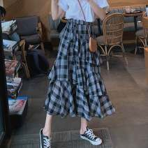 skirt Spring 2020 S,M,L,XL Plaid skirt Mid length dress commute High waist A-line skirt lattice Type A 18-24 years old 51% (inclusive) - 70% (inclusive) cotton Retro