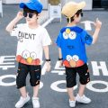 suit Comui rabbit Blue black white 110cm 120cm 130cm 140cm 150cm 160cm male summer Korean version Short sleeve + pants 2 pieces Thin money There are models in the real shooting Socket nothing Cartoon animation Cotton blended fabric children Expression of love CMT2017 Class B Other 100% Summer 2021