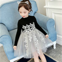 Dress black female Wonderful Barbie 100cm 110cm 120cm 130cm 135cm Other 100% spring and autumn Korean version Long sleeves Solid color blending A-line skirt HX2215 Class B Spring 2020 Three years old, four years old, five years old, six years old, seven years old, eight years old, nine years old