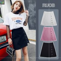 skirt Summer 2020 S,M,L,XL,XXL Short skirt commute High waist A-line skirt Solid color Type A 18-24 years old 91% (inclusive) - 95% (inclusive) brocade Other / other polyester fiber Korean version 161g / m ^ 2 (including) - 180g / m ^ 2 (including)