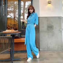 Casual pants S,M,L Spring 2021 trousers Jumpsuit High waist commute Thin money 18-24 years old 96% and above Other / other Korean version Double waistband Asymmetry