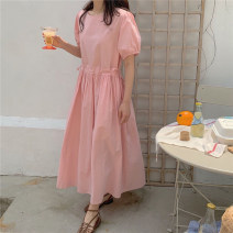 Dress Summer 2020 Pink white S M L XL Mid length dress singleton  Short sleeve commute Crew neck Elastic waist Solid color Socket A-line skirt puff sleeve Others 18-24 years old Type A Yi Mengna Korean version Pleated lace up button LYQ311 51% (inclusive) - 70% (inclusive) cotton