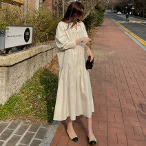 Dress Spring 2021 Beige blue S M L XL Mid length dress singleton  Long sleeves commute Polo collar Loose waist Solid color Single breasted A-line skirt routine 18-24 years old Type A Yi Mengna Korean version Stitching buttons LYQ635 51% (inclusive) - 70% (inclusive) cotton Cotton 70% polyester 30%