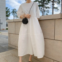 Dress Summer 2021 white S M L XL Mid length dress singleton  Short sleeve commute Crew neck Loose waist Solid color Socket A-line skirt puff sleeve 18-24 years old Type A Yi Mengna Korean version Pocket stitching zipper LYQ657 More than 95% cotton Cotton 100% Pure e-commerce (online only)