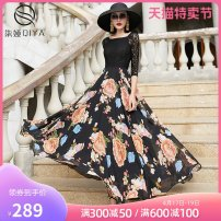 Dress Summer 2020 Black flower S M L XL 2XL 3XL longuette singleton  elbow sleeve commute square neck middle-waisted Decor Socket Big swing raglan sleeve Others 35-39 years old Type X Qiya Retro Hollow lace More than 95% Chiffon polyester fiber Other polyester 95% 5% Pure e-commerce (online only)