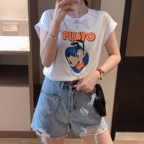 T-shirt White black blue orange S M L XL 2XL Summer 2021 Short sleeve Crew neck easy Regular routine commute cotton 86% (inclusive) -95% (inclusive) 18-24 years old Retro classic Cartoon letters Michelin MX51021F Cotton 95% polyurethane elastic fiber (spandex) 5% Pure e-commerce (online only)