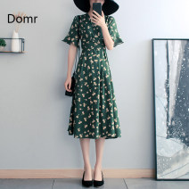Dress Spring 2021 Green [about 15 days after payment] S M L XL 2XL 3XL Mid length dress singleton  Short sleeve commute V-neck High waist Broken flowers Socket A-line skirt Lotus leaf sleeve Others 30-34 years old Type A domr Bow and ruffle lace up zipper domr91614 More than 95% Chiffon