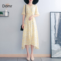 Dress Spring 2021 Yellow [about 15 days after payment] S M L XL 2XL 3XL longuette singleton  elbow sleeve Sweet V-neck High waist Decor Socket A-line skirt Lotus leaf sleeve Others 30-34 years old Type A domr printing domr91639 More than 95% Chiffon polyester fiber Polyester 100%