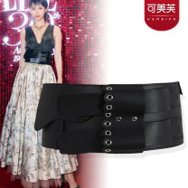 Belt / belt / chain Pu (artificial leather) black female Waistband leisure time Single loop Middle aged youth Pin buckle Leather decoration soft surface 12cm alloy Bare rivet Kemev km-1019 Spring of 2019