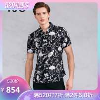 shirt Fashion City Others Black, blue routine Pointed collar (regular) Short sleeve Self cultivation Travel? Four seasons youth tide Plants and flowers