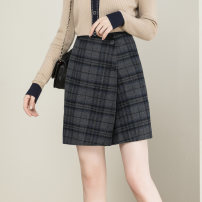 skirt Winter 2020 S M L XL Navy Plaid Short skirt commute High waist A-line skirt lattice Type A 25-29 years old 1899201-1 More than 95% Wool GG&QQ wool zipper Simplicity Wool 100%