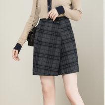 skirt Winter 2020 S M L XL Navy Plaid Short skirt commute High waist A-line skirt lattice Type A 25-29 years old 1899201-1 More than 95% Wool GG&QQ wool zipper Simplicity Wool 100%