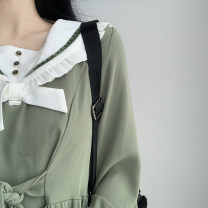 Dress Spring 2021 green XS,S,M,L Mid length dress singleton  Long sleeves Sweet Admiral High waist Solid color Socket A-line skirt routine Others Type A Auricularia auricula, lace up, stitching, button BT210090 81% (inclusive) - 90% (inclusive) Chiffon polyester fiber college