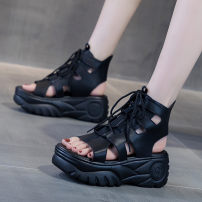 Sandals 35 36 37 38 39 black Double skin mulching Barefoot Muffin bottom High heel (5-8cm) Summer 2020 Adhesive shoes Youth (18-40 years old) polyurethane Back space Gao Bang Hollow PU Cool boots Shaving