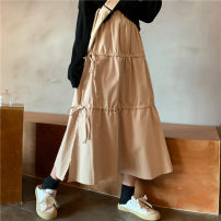 skirt Summer 2020 S,M,L Black, apricot Mid length dress commute High waist A-line skirt Solid color Type A 18-24 years old More than 95% Other / other other