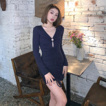 Dress Winter 2020 navy blue S,M,L Short skirt singleton  Long sleeves street V-neck High waist Solid color One pace skirt routine 18-24 years old Type H ORANGEA Fold, resin fixation K20D10785 91% (inclusive) - 95% (inclusive) cotton Europe and America