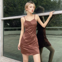 Dress Spring 2021 Purple, khaki, brown S,M,L Short skirt singleton  Sleeveless street V-neck High waist Solid color One pace skirt camisole 18-24 years old Type H ORANGEA Resin fixation K20D11011 91% (inclusive) - 95% (inclusive) polyester fiber Europe and America