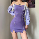 Dress Spring 2021 violet S,M,L Short skirt singleton  Long sleeves street One word collar High waist One pace skirt routine camisole 18-24 years old Type H ORANGEA Stitching, resin fixation, lace K20D0009 91% (inclusive) - 95% (inclusive) cotton Europe and America