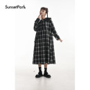 Dress Winter 2020 Black and white check * pre-sale, black and white check * spot S, M longuette singleton  Long sleeves commute square neck High waist lattice Single breasted Big swing Sleeve 18-24 years old Type A SunsetPark Retro 81% (inclusive) - 90% (inclusive) polyester fiber