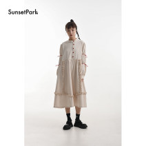 Dress Winter 2020 Beige * pre-sale, beige * spot S, M longuette singleton  Long sleeves commute stand collar High waist Solid color Socket Big swing Sleeve 18-24 years old Type A SunsetPark Retro 81% (inclusive) - 90% (inclusive) polyester fiber