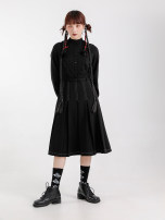 Dress Winter 2020 BLACK * pre-sale, black * spot S,M,L longuette singleton  Long sleeves commute stand collar High waist Solid color Single breasted Pleated skirt Sleeve 18-24 years old Type A SunsetPark Retro 81% (inclusive) - 90% (inclusive) nylon