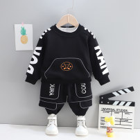 suit Deer hemp Black dark grey light grey 80cm 90cm 100cm 110cm 120cm male spring and autumn Korean version Long sleeve + pants 2 pieces routine No model Socket nothing letter cotton children Expression of love LMMCZ282 Class A Cotton 95% polyester 5% Spring 2021 Chinese Mainland