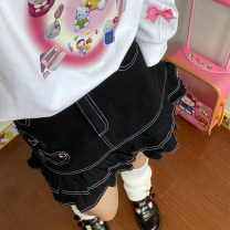 skirt Spring 2021 S,M,L black Short skirt fresh Natural waist Pleated skirt lattice Type A 18-24 years old cowhide fungus