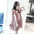 Dress Terry Kennedy Pink M. L, XL, XXL, XXXL, increase XXXL Korean version Short sleeve Medium length summer V-neck Solid color Chiffon TK-85620